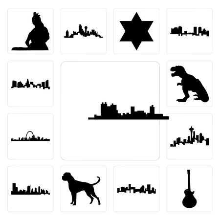 Set Of 13 simple editable icons such as fort worth skyline, image les paul, denver boxer dog, austin seattle skyline on white background, can be used for mobile, web UI