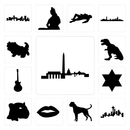 Set Of 13 simple editable icons such as dc skyline, seattle skyline on white background, , boxer dog, lips, jaguar face, star of david, image les paul, t rex, shih tzu can be used for mobile, web UI