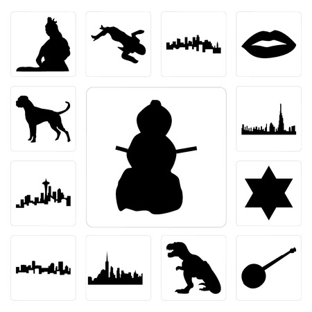 Set Of 13 simple editable icons such as snowman, banjo, t rex, nyc skyline, denver star of david, seattle skyline on white background, , dubai boxer dog can be used for mobile, web UI