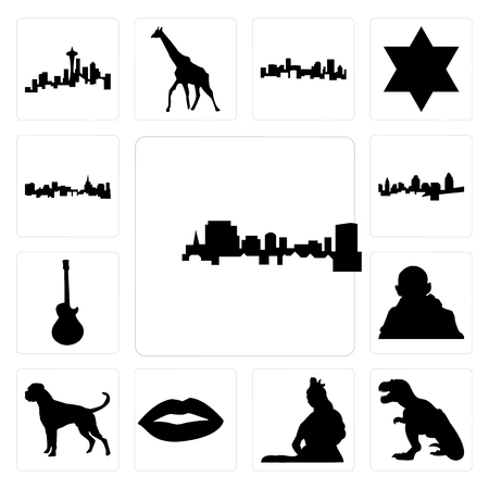 Set Of 13 simple editable icons such as south carolina, t rex, lord shiva outline images on white background, , lips, boxer dog, gandhi, image les paul can be used for mobile, web UI