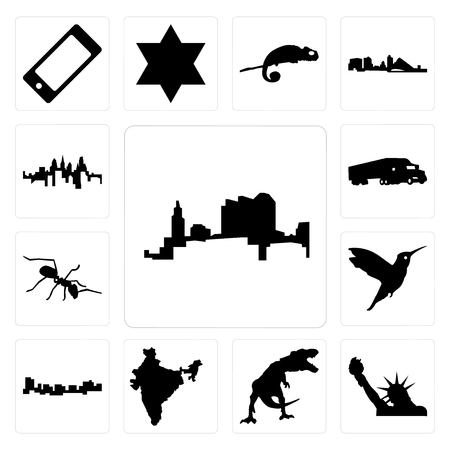 Set Of 13 simple editable icons such as ohio, statue of liberty, t rex, india, jamaica, hummingbird, ant, semi truck, pennsylvania state can be used for mobile, web UI