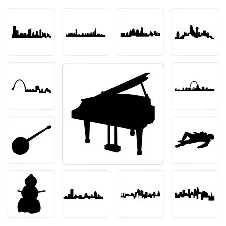 Set Of 13 simple editable icons such as grand piano, minnesota, kansas city skyline, wisconsin, snowman, crime scene body, banjo, st louis skyline can be used for mobile, web UI