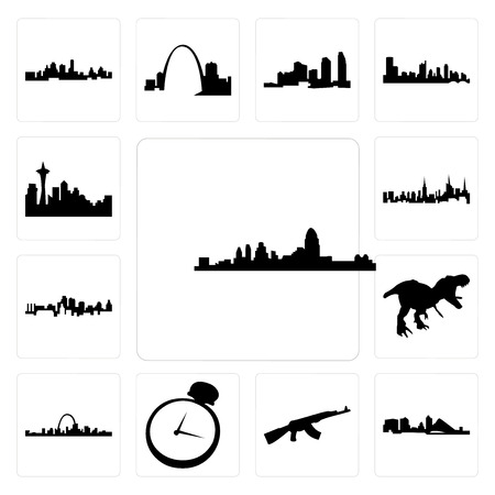 Set Of 13 simple editable icons such as cincinnati skyline, wisconsin, ak47, pocket watch, st louis t rex, kansas city nyc skyline can be used for mobile, web UI