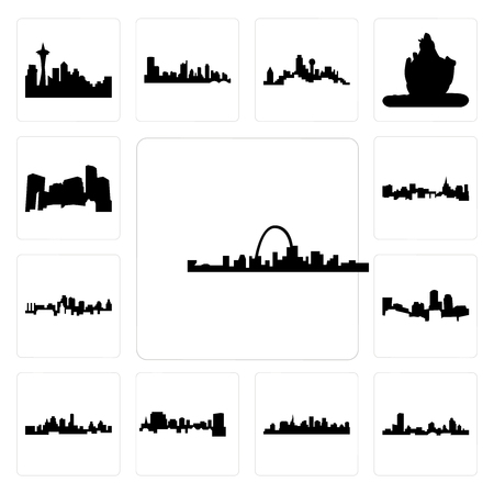 Set Of 13 simple editable icons such as st louis skyline, wisconsin, paul skyline on white background, , south carolina, kansas city can be used for mobile, web UI
