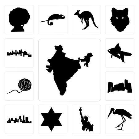 Set Of 13 simple editable icons such as india, stork, statue of liberty, star david, kentucky state, minnesota, yarn ball, goldfish, minnesota can be used for mobile, web UI  イラスト・ベクター素材
