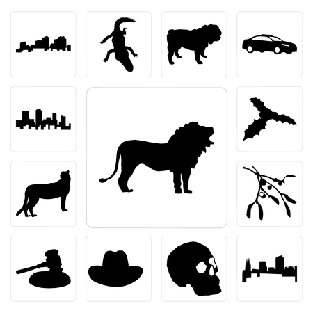 Set Of 13 simple editable icons such as lion outline images on white background, colorado skull background can be used for mobile, web UI