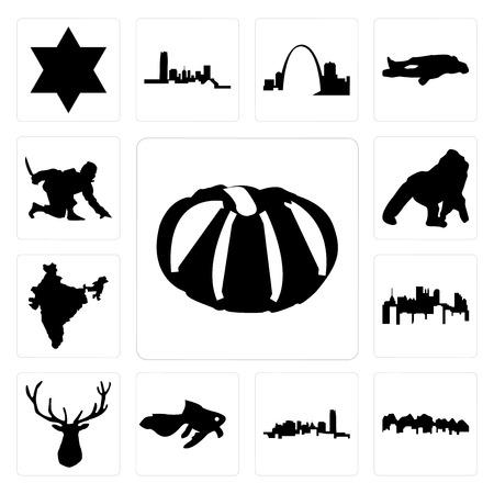 Set Of 13 simple editable icons such as pumpkin, utah, oklahoma, goldfish, elk head, pennsylvania state, india, gorilla, ninja can be used for mobile, web UI