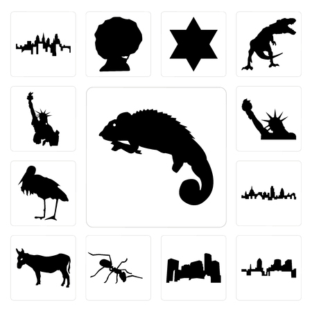 Set Of 13 simple editable icons such as chameleon, , minnesota, ant, donkey, london skyline, stork, statue of liberty, liberty can be used for mobile, web UI