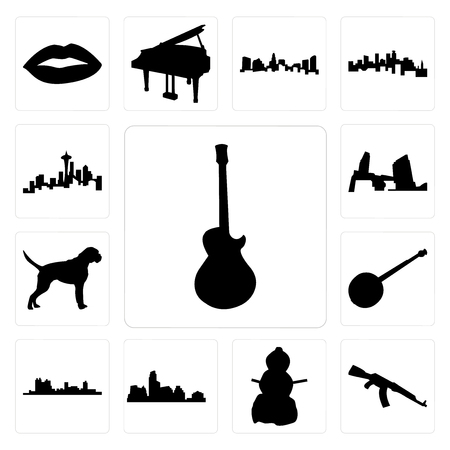 Set Of 13 simple editable icons such as image les paul, ak47, snowman, austin skyline, fort worth banjo, boxer dog, long island can be used for mobile, web UI