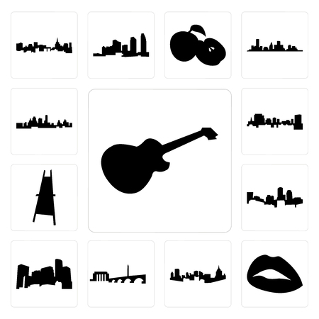 Set Of 13 simple editable icons such as image les paul, lips, pittsburgh skyline, dc minnesota, boston skyline on white background, , painter easel can be used for mobile, web UI