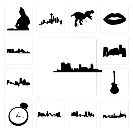 Set Of 13 simple editable icons such as fort worth skyline, nyc charlotte pocket watch, image les paul can be used for mobile, web UI