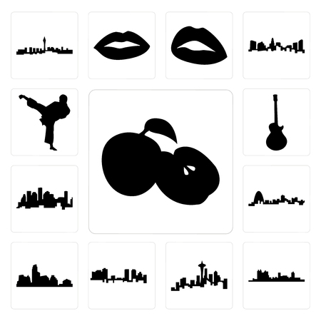 Set Of 13 simple editable icons such as apple, fort worth skyline, seattle skyline on white background, , austin missouri, houston can be used for mobile, web UI