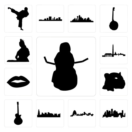 Set Of 13 simple editable icons such as snowman, houston skyline, missouri, chicago image les paul, jaguar face, lips, dc skyline can be used for mobile, web UI Illustration