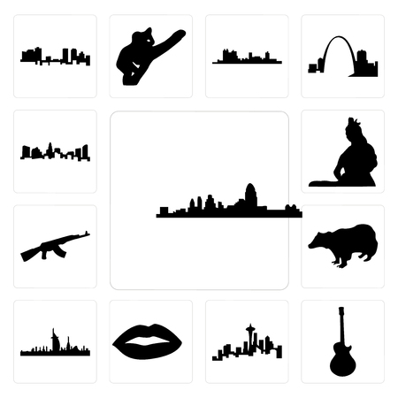 Set Of 13 simple editable icons such as cincinnati skyline, image les paul, seattle skyline on white background, , lips, dubai badger, ak47 can be used for mobile, web UI Illustration