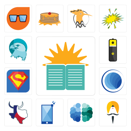 Set Of 13 simple editable icons such as sunday school, sikh, free brain, phone, made in texas, globe, s, lithium battery, eagle head can be used for mobile, web UI