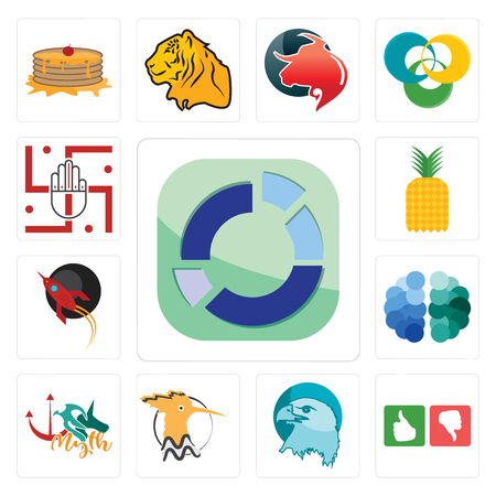 Set Of 13 simple editable icons such as sector, good bad, eagle head, hoopoe, myth, free brain, rocket, pinapple, jain can be used for mobile, web UI