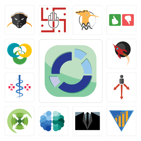 Set Of 13 simple editable icons such as sector, yield, dress code, free brain, extend, approach, registe nurse, rocket, triskelion can be used for mobile, web UI