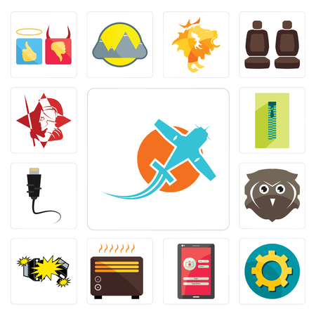 Set Of 13 simple editable icons such as prop plane, transparent gear, login screen, heater, car crash, free owl, ethernet, zipper, spartan can be used for mobile, web UI