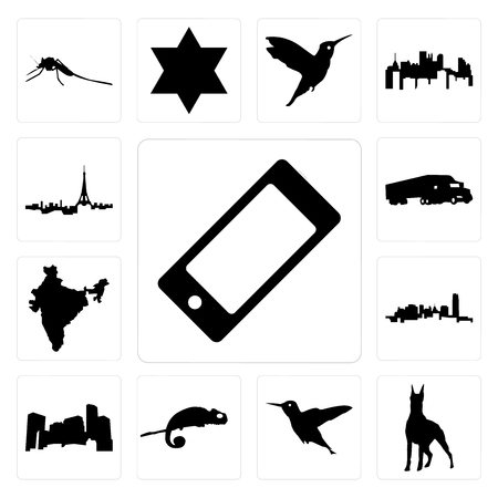 Set Of 13 simple editable icons such as cell phone, doberman, hummingbird, chameleon, minnesota, oklahoma, india, semi truck, paris skyline can be used for mobile, web UI