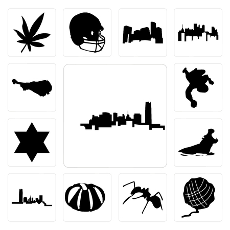 Set Of 13 simple editable icons such as oklahoma, yarn ball, ant, pumpkin, hippo, star of david, chalk, turkey leg can be used for mobile, web UI