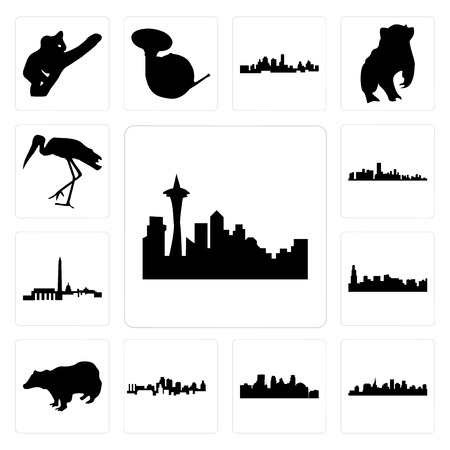 Set Of 13 simple editable icons such as seattle skyline on white background, , st paul minneapolis background, can be used for mobile, web UI