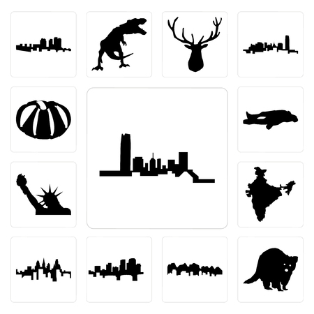 Set Of 13 simple editable icons such as oklahoma, raccoon, utah, arkansas, pennsylvania state, india, statue of liberty, chalk, pumpkin can be used for mobile, web UI