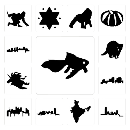 Set Of 13 simple editable icons such as goldfish, oklahoma, india, pennsylvania state, louisiana outline on white background, unicorn head, raccoon, arkansas can be used for mobile, web UI