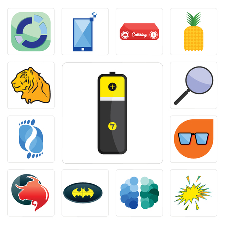 Set Of 13 simple editable icons such as lithium battery, starburst, free brain, bat, taurus professional, nerd glasses, podiatry, focus group, tiger can be used for mobile, web UI Illustration