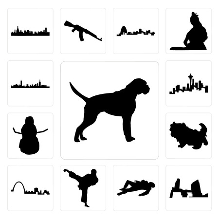 Set Of 13 simple editable icons such as boxer dog, long island, crime scene body, karate kick, st louis skyline, shih tzu, snowman, seattle skyline on white background, can be used for mobile, web UI