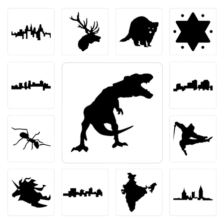Set Of 13 simple editable icons such as t rex, alabama, india, jamaica, unicorn head, ninja, ant, louisiana outline on white background, arkansas can be used for mobile, web UI