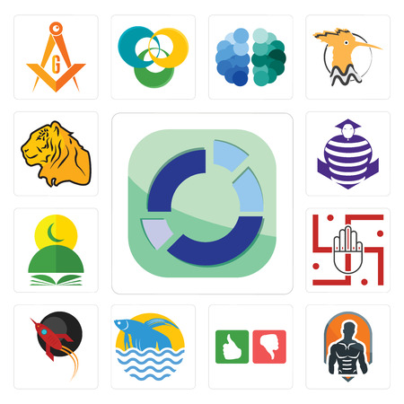 Set Of 13 simple editable icons such as sector, fitness, good bad, betta fish, rocket, jain, quran, purple cobras, tiger can be used for mobile, web UI