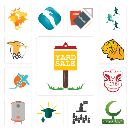 Set Of 13 simple editable icons such as yard sale, bismillah, public relations, education, boiler, lion dance, prop plane, tiger, hoopoe can be used for mobile, web UI
