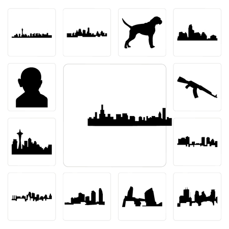 Set Of 13 simple editable icons such as chicago skyline, minneapolis skyline on white background, , long island, kansas city fort worth can be used for mobile, web UI