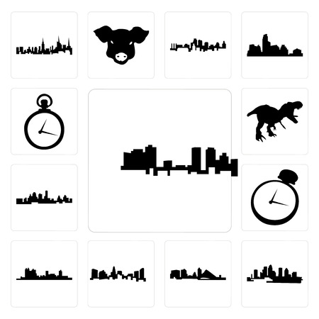 Set Of 13 simple editable icons such as fort worth skyline, florida, wisconsin, charlotte pocket watch, kansas city t rex can be used for mobile, web UI Foto de archivo - 102078793