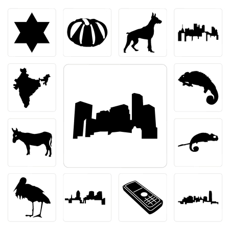 Set Of 13 simple editable icons such as minnesota, oklahoma, cell phone, , stork, chameleon, donkey, india can be used for mobile, web UI