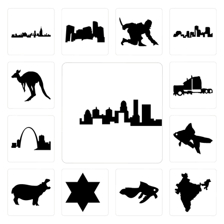 Set Of 13 simple editable icons such as kentucky state, india, goldfish, star of david, hippo, missouri, semi truck, kangaroo outline on white background can be used for mobile, web UI Illustration