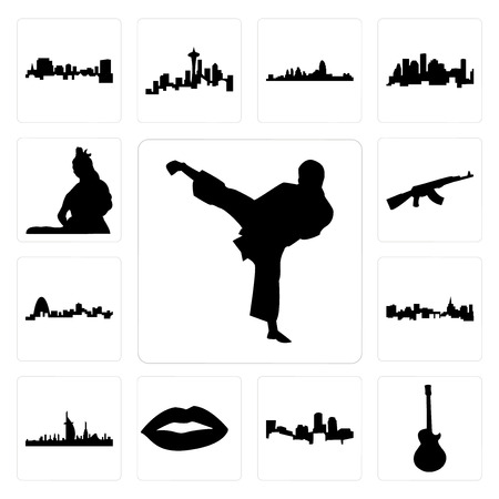 Set Of 13 simple editable icons such as karate kick, image les paul, boston skyline on white background, , lips, dubai skyline, st paul background, can be used for mobile, web UI