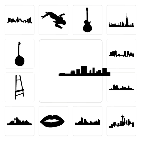 Set Of 13 simple editable icons such as south carolina, seattle skyline on white background, , denver skyline, lips, dallas background, can be used for mobile, web UI