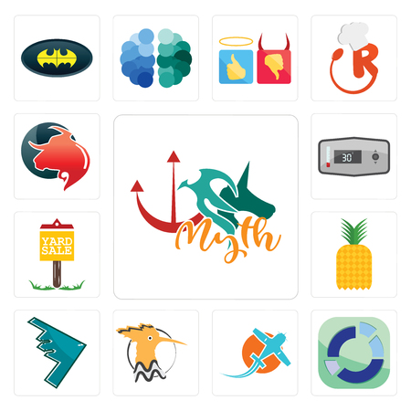 Set Of 13 simple editable icons such as myth, sector, prop plane, hoopoe, stealth bomber, pinapple, yard sale, thermostat, taurus professional can be used for mobile, web UI Illustration