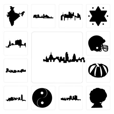 Set Of 13 simple editable icons such as london skyline, afro, haiti, yin yang, oklahoma, pumpkin, jamaica, football helmet, ohio can be used for mobile, web UI