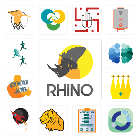 Set Of 13 simple editable icons such as rhino, sector, action plan, tiger, rocket, crown, good job, free brain, competitive advantage can be used for mobile, web UI