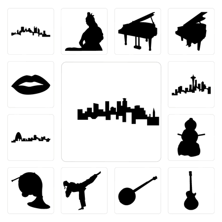 Set Of 13 simple editable icons such as minnesota, image les paul, banjo, karate kick, french horn, snowman, missouri, seattle skyline on white background, , lips can be used for mobile, web UI