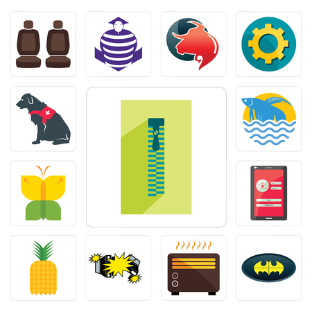 Set Of 13 simple editable icons such as zipper, bat, heater, car crash, pinapple, login screen, buterfly, betta fish, service dog can be used for mobile, web UI Illustration