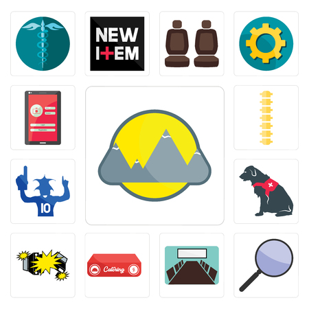 Set Of 13 simple editable icons such as montain, focus group, conference room, catering, car crash, service dog, sports fan, spine, login screen can be used for mobile, web UI Ilustração