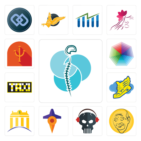 Set Of 13 simple editable icons such as neurosurgery, patel, skull with headphone, travel, banque, shoe wings, taksi, heptagon, psi can be used for mobile, web UI