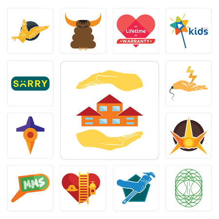 Set Of 13 simple editable icons such as realtor, celtic tree of life, plumber, volunteer fire department, mms, nova, travel, electrical contractor, sorry can be used for mobile, web UI