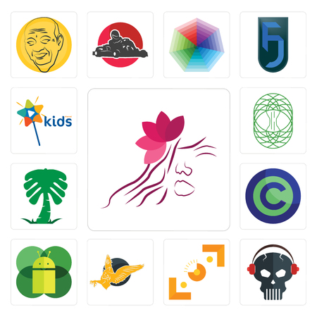Set Of 13 simple editable icons such as parlour, skull with headphone, viewfinder, gryphon, mobile os a, copyright free, saudi palm, celtic tree of life, kids channel can be used for mobile, web UI