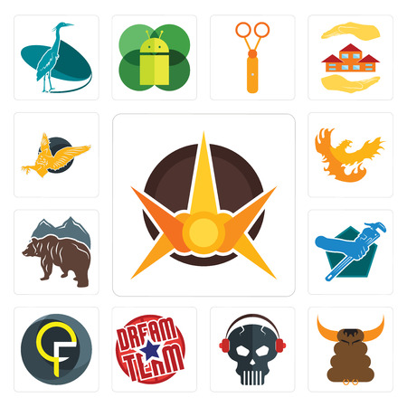 Set Of 13 simple editable icons such as nova, bullshit, skull with headphone, dream team, qf, plumber, free bear, phoenix, gryphon can be used for mobile, web UI