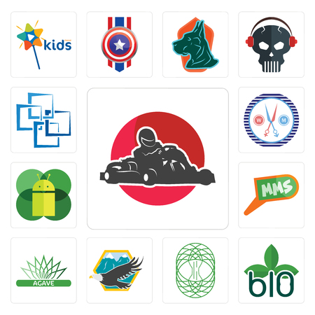 Set Of 13 simple editable icons such as kart, biodegradable, celtic tree of life, eagle, agave, mms, mobile os a, unisex salon, blockchain can be used for mobile, web UI