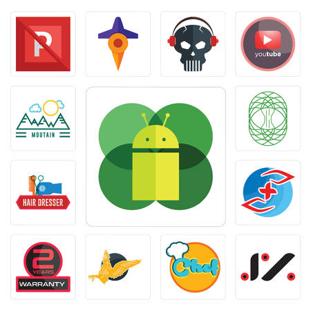 Set Of 13 simple editable icons such as mobile os a, jz, chef, gryphon, 2 years warranty, medicare, hair dresser, celtic tree of life, moutain can be used for mobile, web UI
